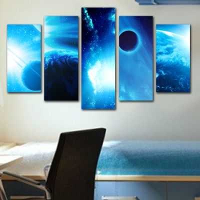 0153_1  Wall art decoration (set of 5 pieces) Space (blue)