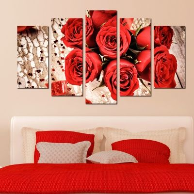 0159 Wall art decoration (set of 5 pieces) Red roses