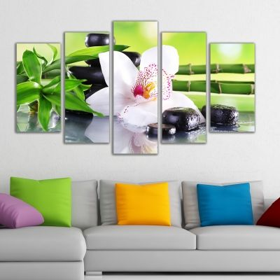 0162 Wall art decoration (set of 5 pieces) White orchid with reflection