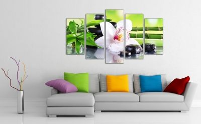 Beautiful wall decoration set with white orchid
