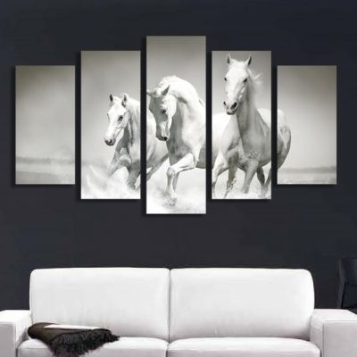 0169 Wall art decoration (set of 5 pieces) White horses