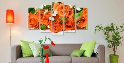 Canvas wall art set with roses