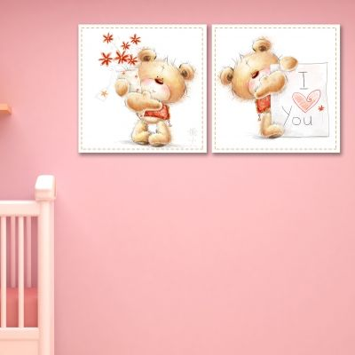 0172  Wall art decoration for kids (set of 2 pieces) Loving teddy bear