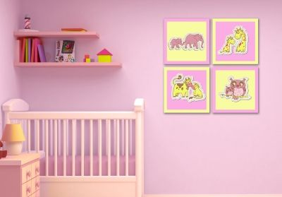 Litle girl wall art decoration boy with animals
