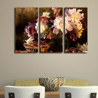 0176 Wall art decoration (set of 3 pieces) Beautiful flowers and cherries