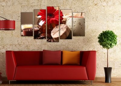 wall art decoration in red and brown