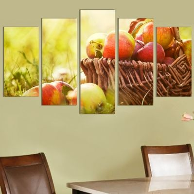 0183  Wall art decoration (set of 5 pieces) Apples