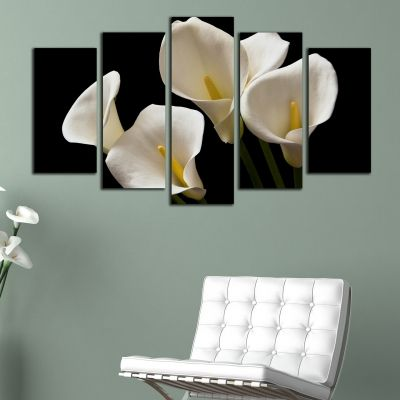 0198 Wall art decoration (set of 5 pieces) Calla lilies