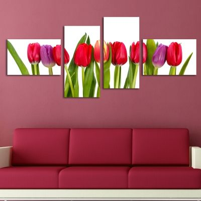 0210 Wall art decoration (set of 4 pieces) Tulips