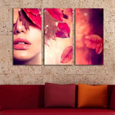 0212 Wall art decoration (set of 3 pieces) Autumn kiss