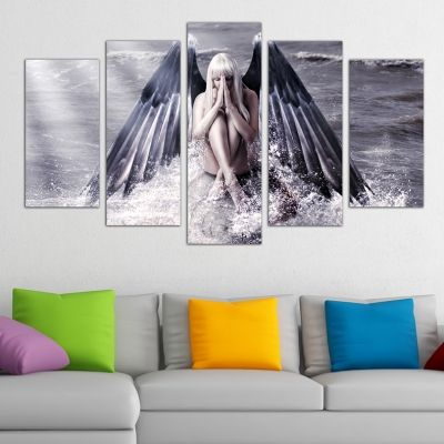 0216 Wall art decoration (set of 5 pieces) Angel