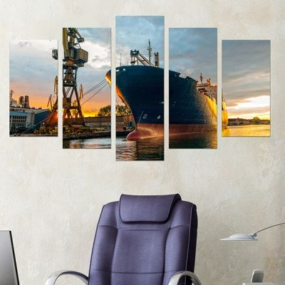 0219 Wall art decoration (set of 5 pieces) Port