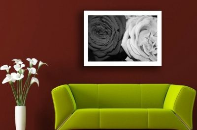 Black and white roses wall decoration