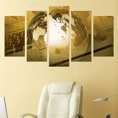 0229 Wall art decoration (set of 5 pieces) Business world