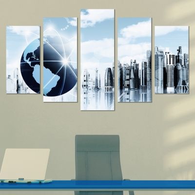 0230 Wall art decoration (set of 5 pieces) Business world