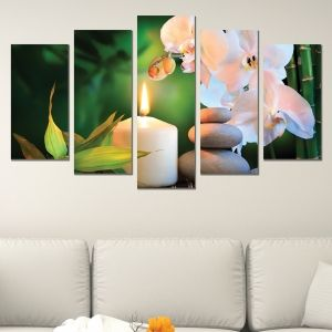 0620  Wall art decoration (set of 5 pieces) White orchids on green background
