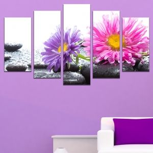 0658 Wall art decoration (set of 5 pieces) Zen composition with beautiful gerberas and stones