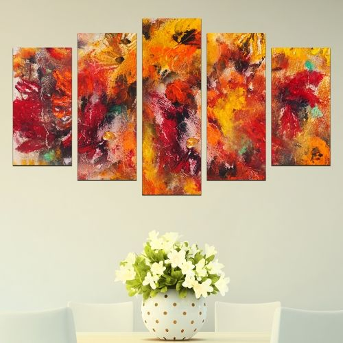 Canvas wall art with abstract flowers