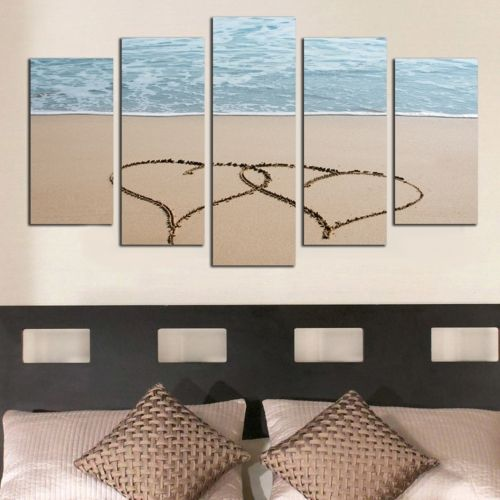 Modern canvas art decoration for bedroom with hearts