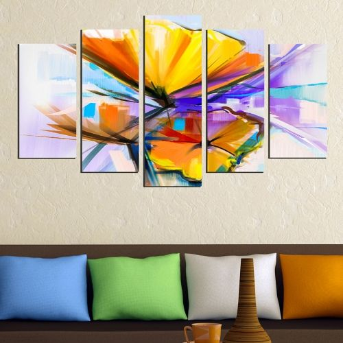 wall art canvas decoration set with abstract flowers