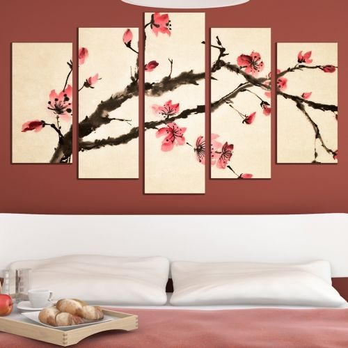 Canvas art set for decoration blooming brunch