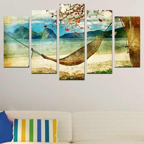 Canvas art sea landscape with tropical island