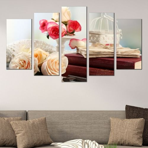 Canvas art set Vintage composition with roses