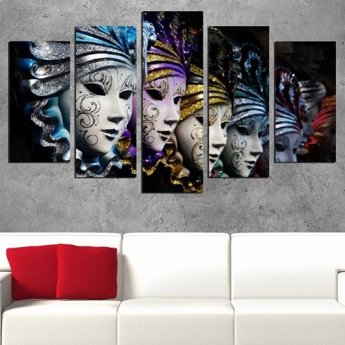 Canvas art set venetian masks