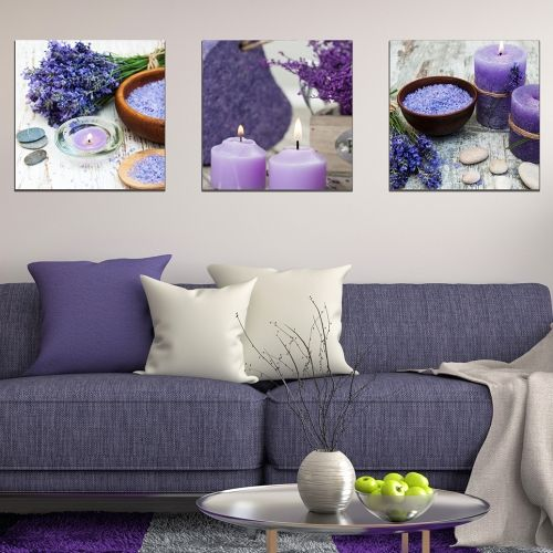set of 3 wall decorations in purple with lavender