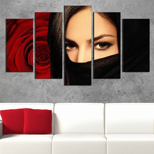 Canvas art set for decoration mysterious woman and rose