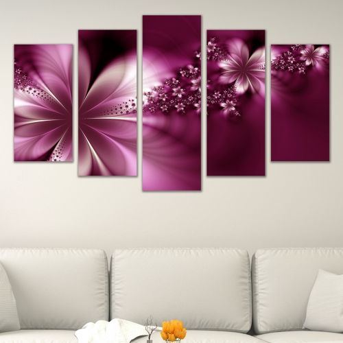 Canvas art set beautiful abstract flowers in purple