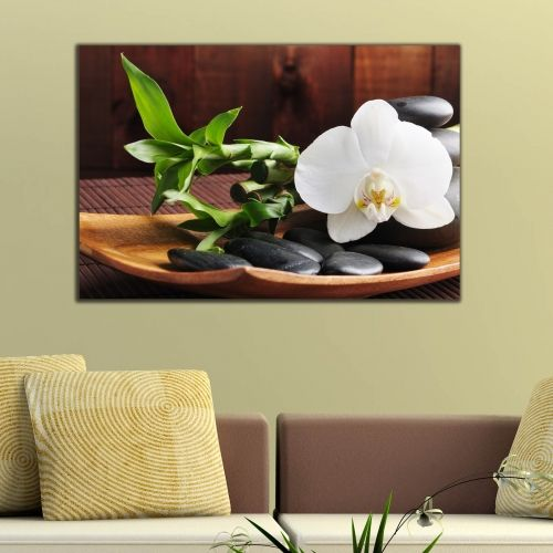 Wall art decoration flower art painting reproduction white orchid on brown background