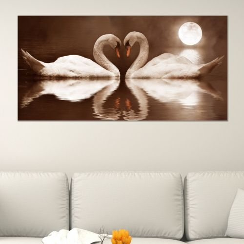 canvas wall art Swans in brown