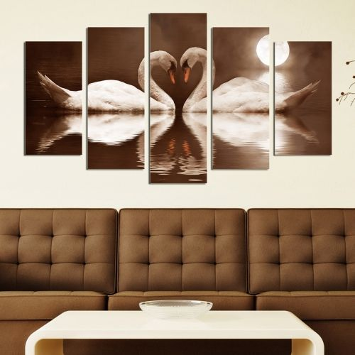 0118  Wall art decoration (set of 5 pieces) Swans