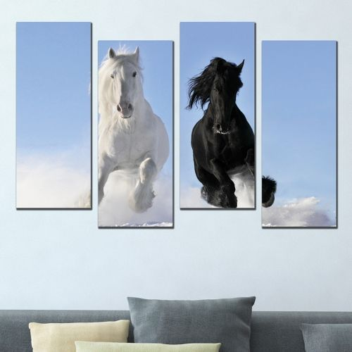canvas wall art for living room Black and white horses