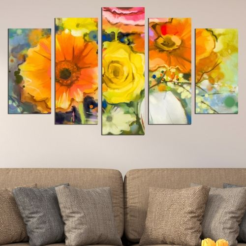 Canvas wall art for living room or bedroom with flowers in orange and yellow