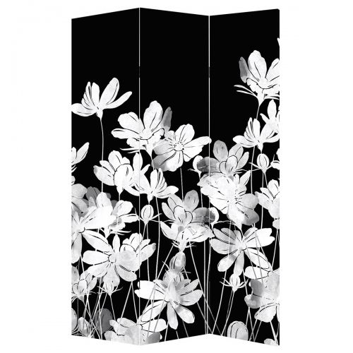 Decorative room divider with abstract flowers in black white and yellow
