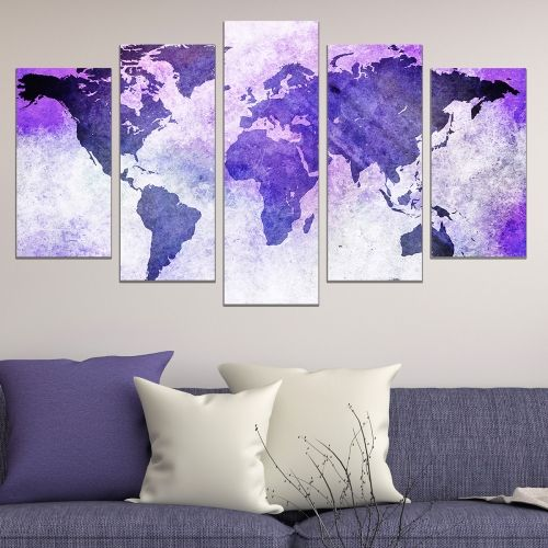 Modern abstract wall decoration set with old map purple