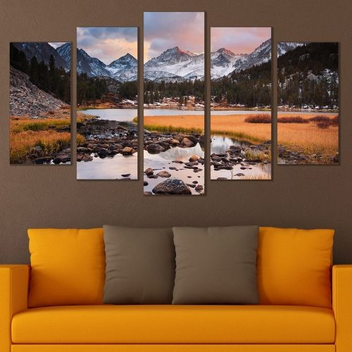 wall art canvas decoration set with beautiful mountain landscape and lake