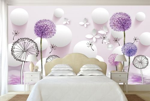 T9022 Wallpaper 3D Dandelions - white and purple