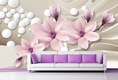 T9026 Wallpaper 3D Magnolias and spheres