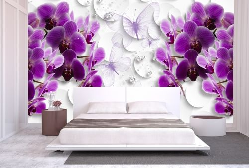 T0752 Wallpaper 3D Orchids, butterflies and diamonds