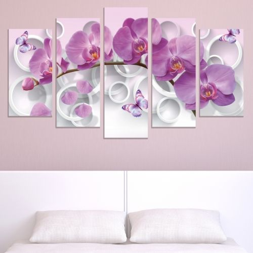 0750  Wall art decoration (set of 5 pieces) White orchids on brown background for living room