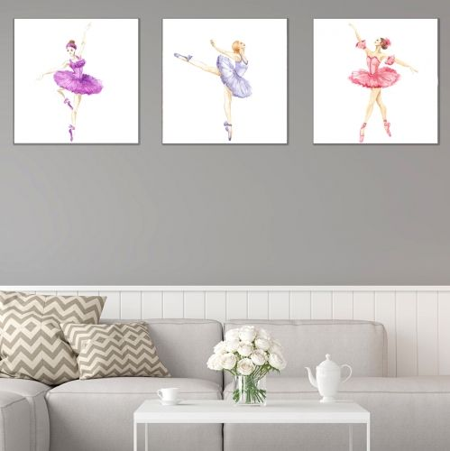 set of 3 wall decorations in black and white Ballet