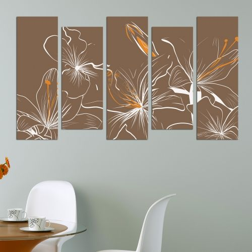 Floral painting of 5 parts in brown and orange