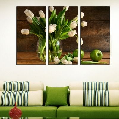 0239_1 Wall art decoration (set of 3 pieces) Tulips and apples