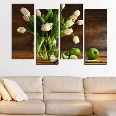 0239_2 Wall art decoration (set of 4 pieces) Tulips and apples