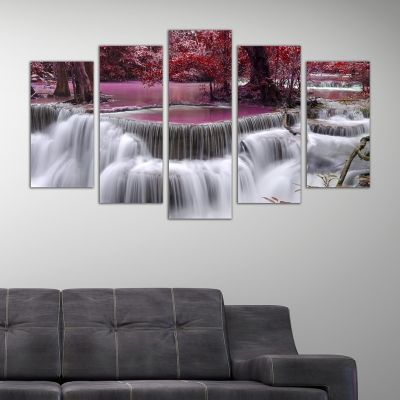0243 Wall art decoration (set of 5 pieces) Fairy waterfalls