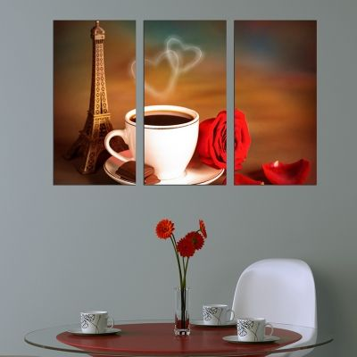 0246 Wall art decoration (set of 3 pieces) Romantic coffee