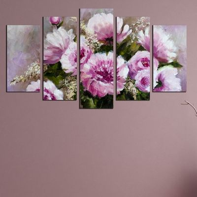 0258_1 Wall art decoration (set of 5 pieces) Purple flowers